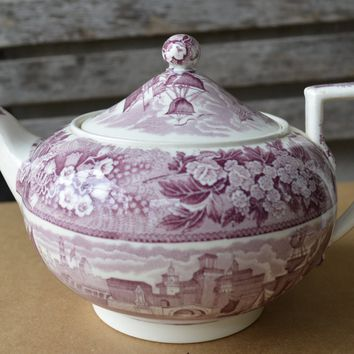 Antique Wedgwood Ferrara Teapot Floral & Ship Scene Purple Transferware