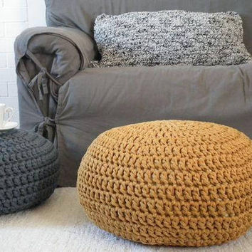 Mustard Gold Floor Pouf Ottoman-Crochet Round Footstool Ottoman-Gold Nursery Decor-Kids Furniture-Bean Bag Chair-Knit Floor Cushion