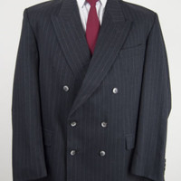 Vintage Mens Burberrys Double Breasted Pinstripe Jacket Grey Wool Blazer 44