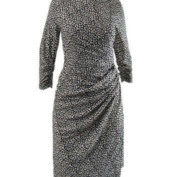 Womens 3/4 Sleeve Geometric Pattern Midi Dress