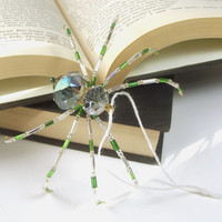 "Blue, Gold and Clear, Beaded Christmas Spider Ornament -- ""Legend of the Christmas Spider"""