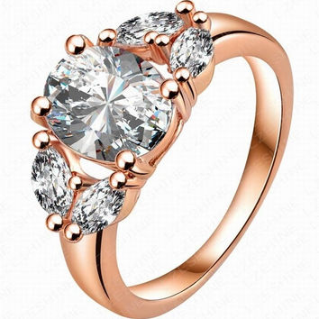 18K Rose Gold Elegant Inlay Cubic Zirconia Lady CZ Diamond Gemstone Crystal  Rhinestone Ring Wedding Bridal fa7df3a38