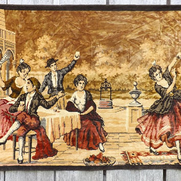 Large Vintage Tapestry Spanish Flamenco Dancers in Village Scene, Velour Wall Hanging