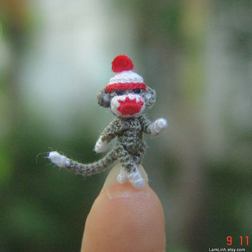 3/4 inch Christmas gray sock monkey - Tiny amigurumi crochet animal