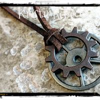 Mens Gears Mens Explorer Necklace Gears and Suede Leather Silver Copper