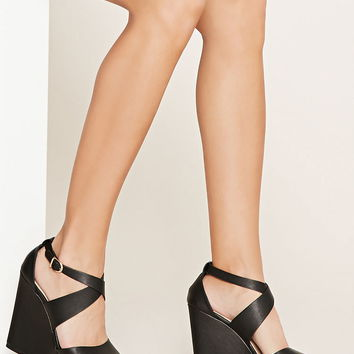 Faux Leather Wedge Sandals