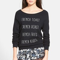 Junior Women's Project Social T 'French Kiss' Graphic Sweatshirt,