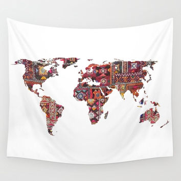 Indian Fabric Map Of Earth Tapestry Wall Hanging Meditation Yoga Grunge Hippie
