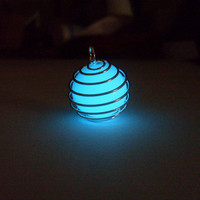 GLOW in the DARK Spiral Silver Caged Materia Magic Orb Charm Pendant Necklace -- Choose Color: Green, Blue, Aqua, Yellow, White, Orange, Red
