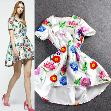 Digital Print Floral Short Sleeves High Low Swing Mini Dress