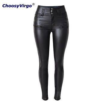 ChoosyVirgo New fashion Fitted Stretch SliM PU Leather Trousers Female sexy waist 3 buckle pencil pants plus size Wash Jeans