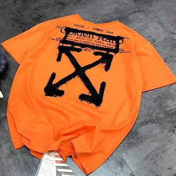 OFF-WHITE basic arrow graffiti spoof ink embroidery couple T-shirt Orange