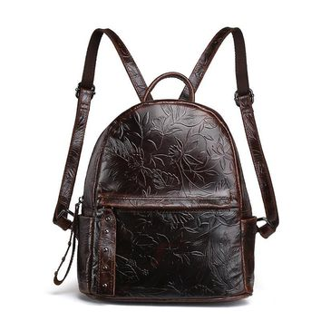 Women Oil Wax Cowhide Backpack Luxury Genuine Embossed Leather Student School Book Bag Casual Vintage Daypack Brand Rucksack