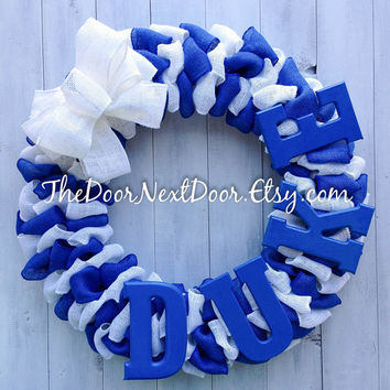 Duke Blue Devil Wreath - Duke University Wreath - College Wreath - Burlap Wreath