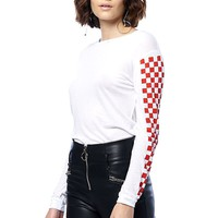 Checker Sleeve Basic Tee