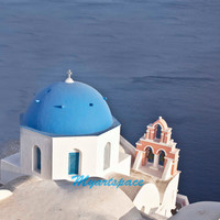 Santorini original art, Santorini Blue white church, symbol of Oia Greece, dream holiday art print, Greek Island