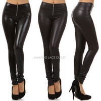 Black Liquid Zipper Leggings Wet Look Tight Sexy Shiny Faux Vinyl Cat Hot Pants