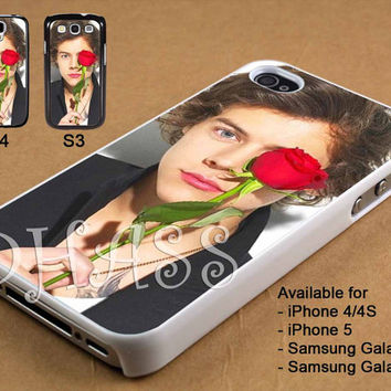 Harry Styles and Rose Design for iPhone 4/4s/5 Case, Samsung Galaxy S3/S4 Case