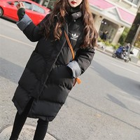 """Adidas"" Women Fashion Multicolor Long Sleeve Middle Long Section Cotton-padded Clothes Thickened Bread Down Jacket Coat"