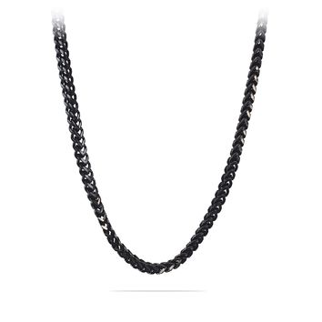 6mm Black Stainless Steel Franco Cuban Box Chain Necklace