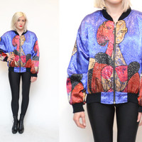 90s PICASSO silky bomber jacket // purple red grunge abstract novelty face print METALLIC zip up puffy windbreaker jacket statement coat