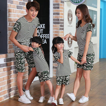 Family Matching Outfits Summer Cotton Camouflage Clothing Boy Girl Short sleeve T-shirt + Shorts Father and Mother Couples Suits