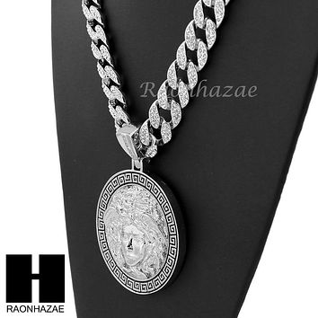 "Hip Hop White Gold Plated Medusa medallion Pendant 30"" Iced Out Cuban Link Chain"