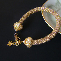 Golden crochet bracelet  Gentle Sparkly Beaded Crochet Bracelet Women unique gift Seed bead bracelet Gold white bracelet Classic Unusual