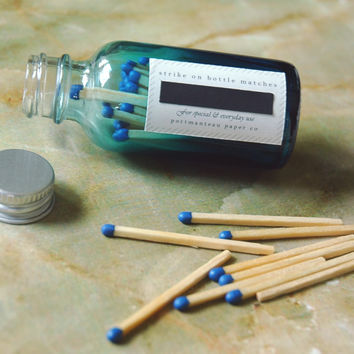 Blue Ombre Jar Matches - Strike on Bottle
