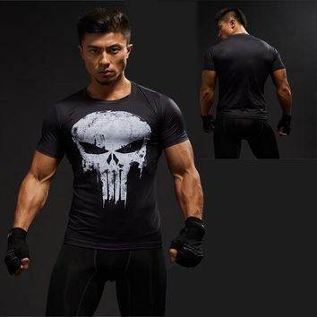 Punisher Gym Sports T Shirt Men Short sleeve T-Shirt Male Crossfit Tee Captain America Superman Compression Shirt MMA Skull Tops
