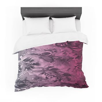 "Ebi Emporium ""Forever Flowers, Pink Ombre"" Pink Gray Watercolor Featherweight Duvet Cover"