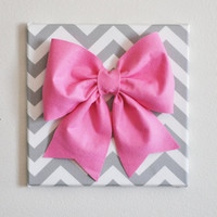 "Large Pink Bow on Gray and White Chevron 12 x12"" Canvas Wall Art- Baby Nursery Wall Decor- Zig Zag"