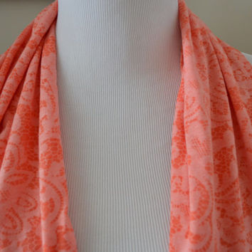 Melon Floral Infinity Scarf, Coral Infinity Scarf