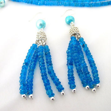 Blue tassel earrings, apatite and blue pearls gemstone dangles, art deco neon blue earrings, fine jewelry