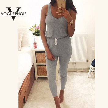 Voguephoie Casual Summer Fashion Sport Women Romper Solid Color Sexy Ladies Vest Sleeveless Slim Jumpsuit