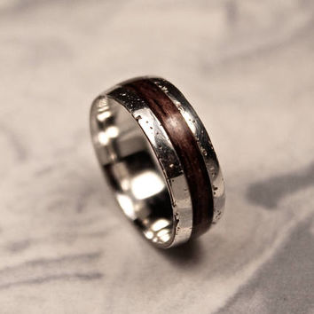 Rustic Silver Ring, Sterling Silver Band, Bentwood Ring, Dark Wooden Wedding Band, Organic Jewelry.