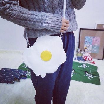 Korean Style Ulzzang Creative Messenger Bag With The Shape Of Omelette Personal Shoulder Bag For Women Casual Cute Omelette Bag