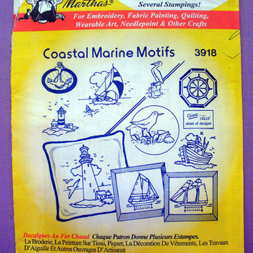 "Aunt Martha's ""Coastal Marine Motifs"" Hot Iron Transfer Pattern 3918 for Embroidery, Fabric Painting, Needle Crafts"