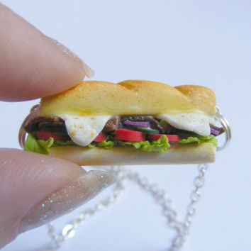 Sub Hoagie Miniature Food Necklace - Miniature Food Jewelry,Handmade Jewelry Necklace Pendant