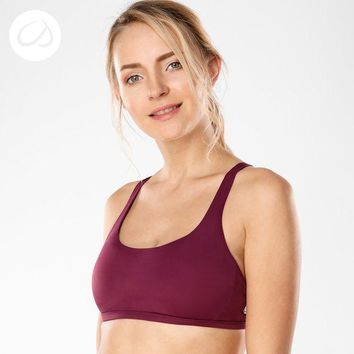 LMFLD1 CRZ YOGA Women's Removable Pads Yoga Top Cross Strappy Back Sports Bra