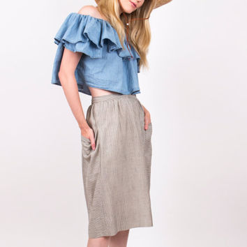 striped pencil skirt / high waist pocket skirt / Vintage 80's pleated front back pocket abstract midi skirt / grey gray tone skirt / 1980s S