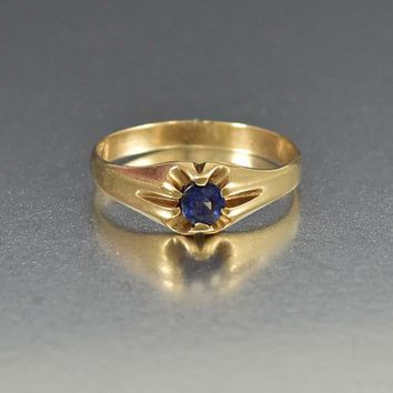 Iolite Water Sapphire 14K Gold Wedding Band Ring