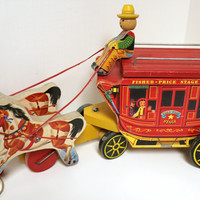 Vintage Fisher Price Stagecoach Pull Toy Gold Star Stage Lines Wagon Horse Drawn 1950s