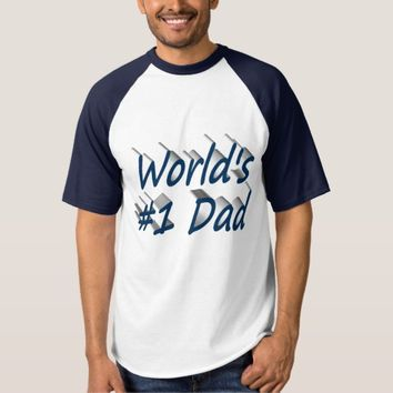 World's #1 Dad 3D Shirt, Ocean Blue T-shirt