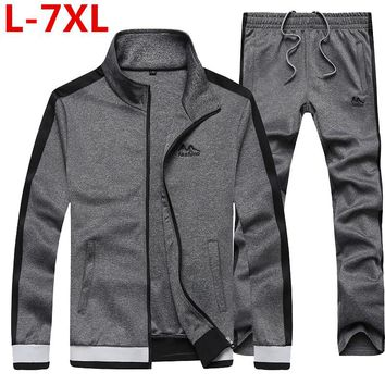 2017 new Fashion Spring Autumn Men Sporting Suit Jacket+Pant  Sweatsuit 2 Piece Set Tracksuit Plus Size 7XL 6XL 5XL Men Clothing