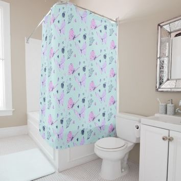 Painted purple Butterflies on mint teal background Shower Curtain