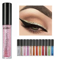 Popfeel Brand Shimmer Shine Eye Liner Waterproof Makeup Pigment Gold Silver Metallic Liquid Color Glitter Eyeliner Makeup