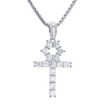 "Jewelry Kay style CZ Stone Silver Tone Ankh Cross & Stainless Steel 24"" Chain Necklace BSH 13108 S"
