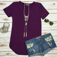 Vicky Basic V Tunic Top: Purple