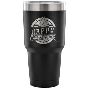 Camping Tent Travel Mug Happy Camper 30 oz Stainless Steel Tumbler